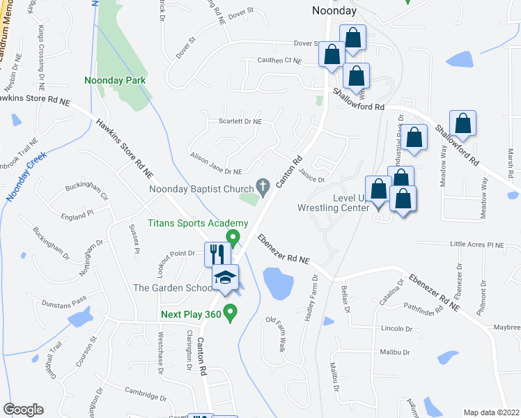 map of restaurants, bars, coffee shops, grocery stores, and more near 4101-4117 Canton Road in Marietta