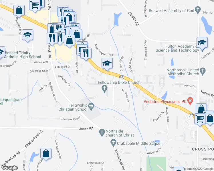 map of restaurants, bars, coffee shops, grocery stores, and more near 480 West Crossville Road in Roswell