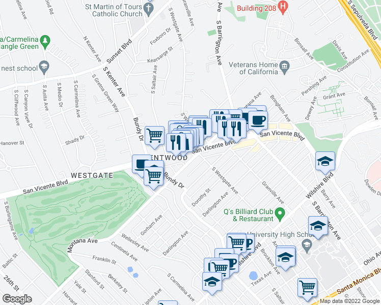 map of restaurants, bars, coffee shops, grocery stores, and more near San Vicente Boulevard in Los Angeles