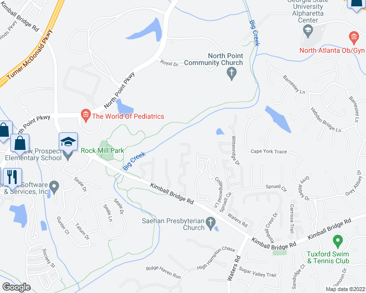 map of restaurants, bars, coffee shops, grocery stores, and more near 310 Snowgoose Court in Alpharetta