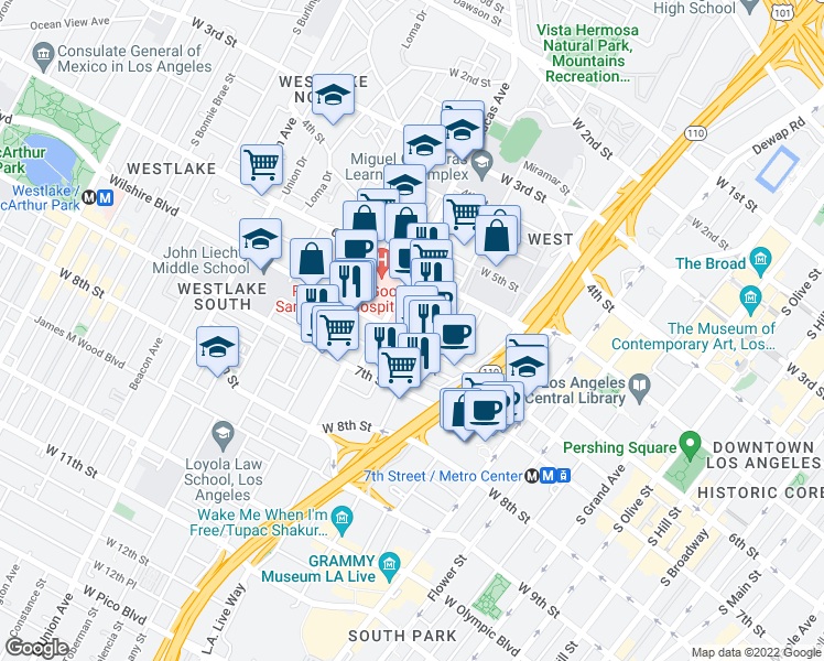 map of restaurants, bars, coffee shops, grocery stores, and more near 1111 Wilshire Boulevard in Los Angeles