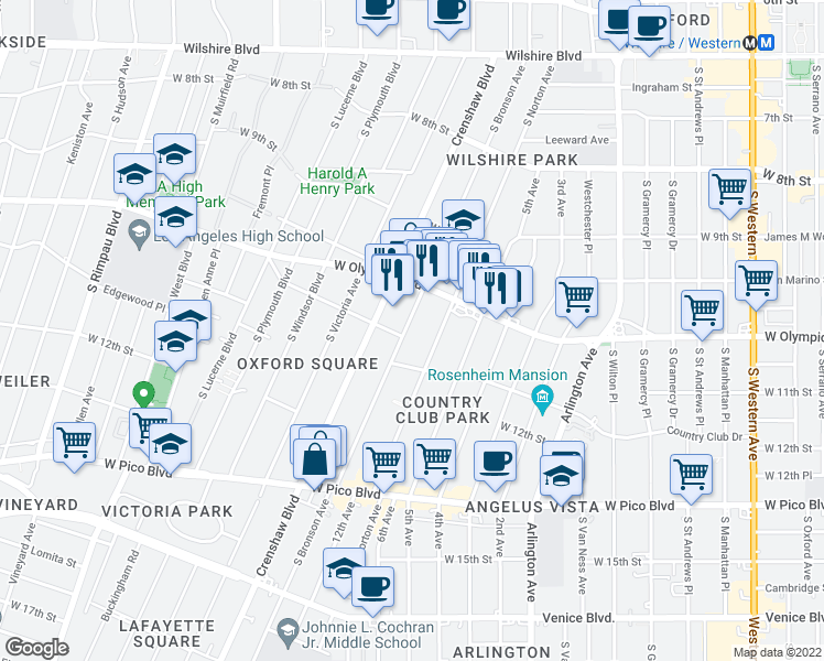 map of restaurants, bars, coffee shops, grocery stores, and more near 1050 South Bronson Avenue in Los Angeles