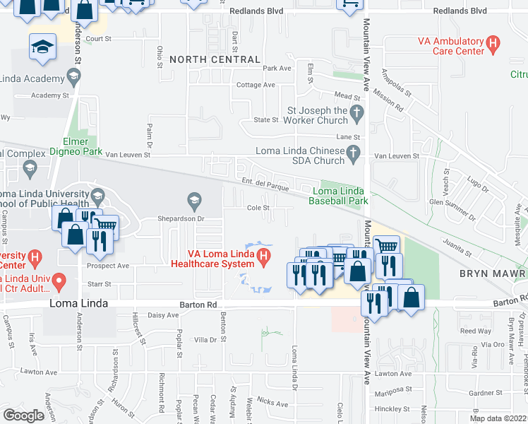 map of restaurants, bars, coffee shops, grocery stores, and more near 25417 Cole Street in Loma Linda