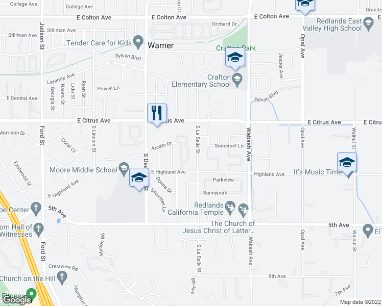 map of restaurants, bars, coffee shops, grocery stores, and more near 125 Meadowbrook Lane in Redlands