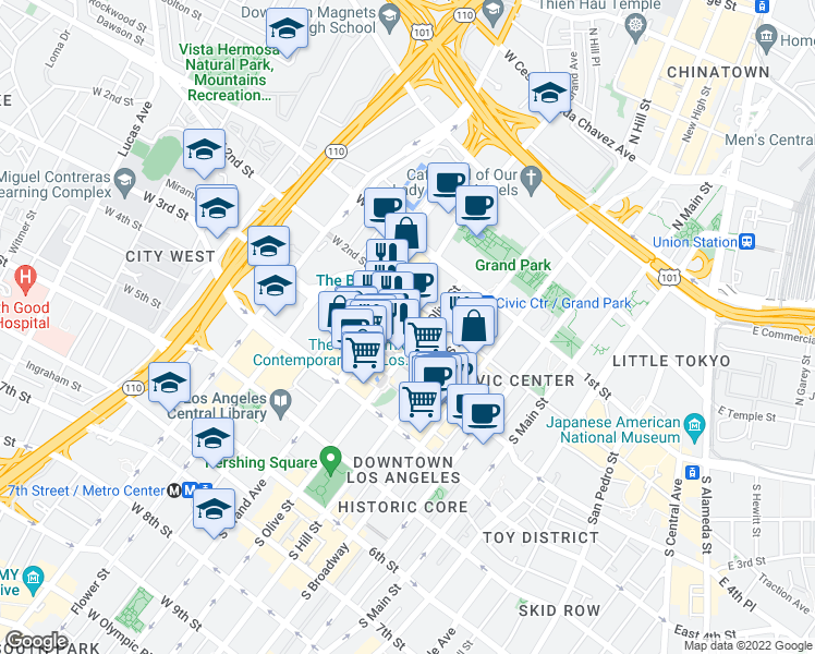 map of restaurants, bars, coffee shops, grocery stores, and more near 258 South Olive Street in Los Angeles