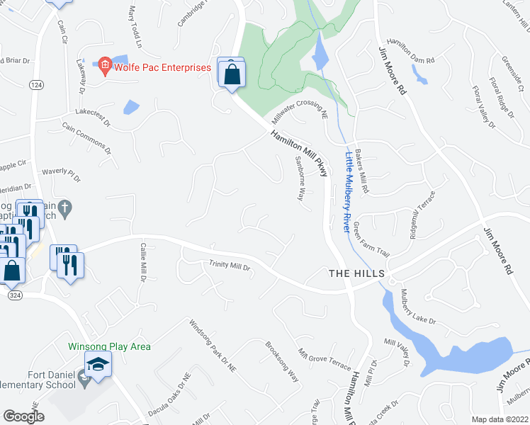map of restaurants, bars, coffee shops, grocery stores, and more near 3153 Hog Mountain Road in Dacula