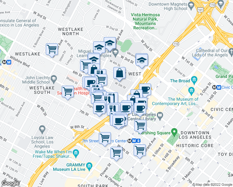 map of restaurants, bars, coffee shops, grocery stores, and more near W 6th St & St Paul Ave in Los Angeles