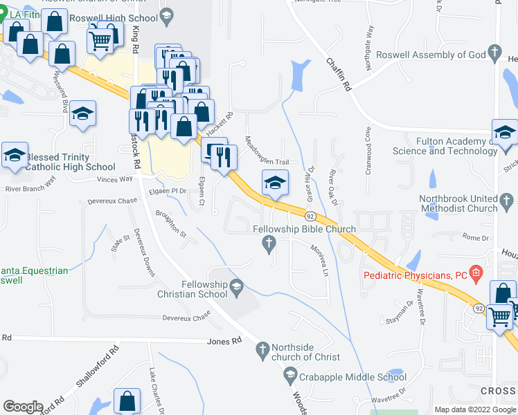 map of restaurants, bars, coffee shops, grocery stores, and more near 1435 Lyndhurst Way in Roswell