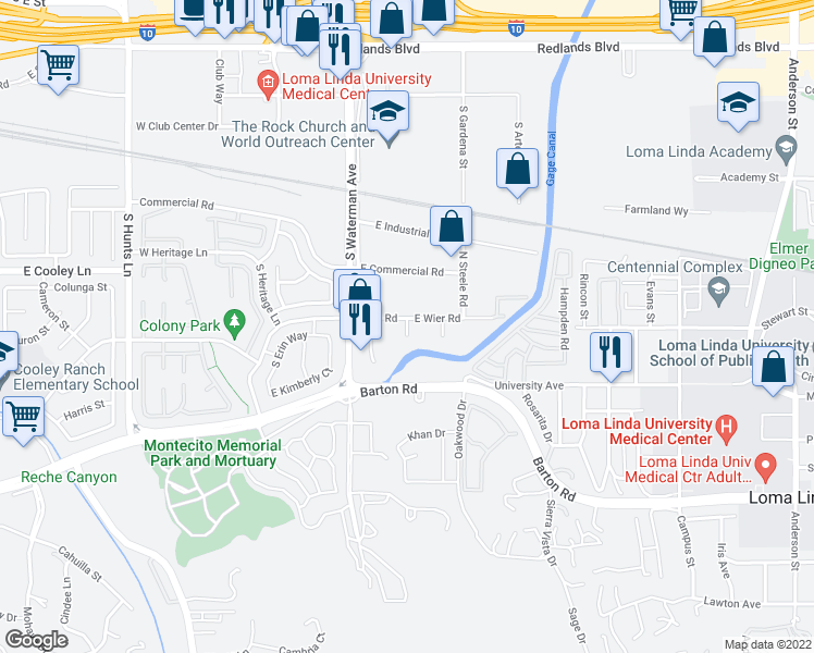 map of restaurants, bars, coffee shops, grocery stores, and more near 400 Wier Road in San Bernardino