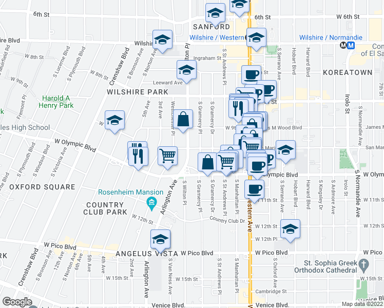 map of restaurants, bars, coffee shops, grocery stores, and more near 956 South Wilton Place in Los Angeles