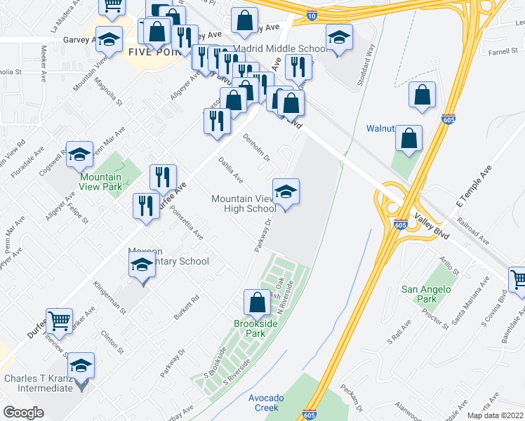 map of restaurants, bars, coffee shops, grocery stores, and more near 2857 Parkway Drive in El Monte