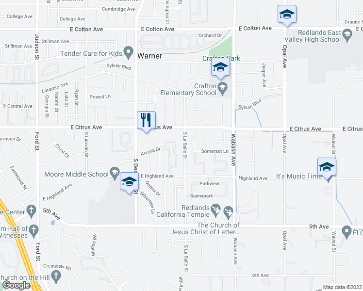 map of restaurants, bars, coffee shops, grocery stores, and more near 22 South La Salle Street in Redlands