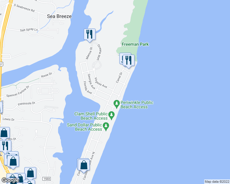 map of restaurants, bars, coffee shops, grocery stores, and more near 1600 Canal Drive in Carolina Beach