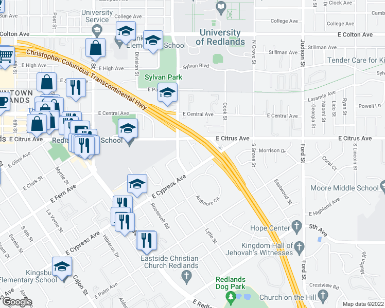 map of restaurants, bars, coffee shops, grocery stores, and more near 528 University Place in Redlands