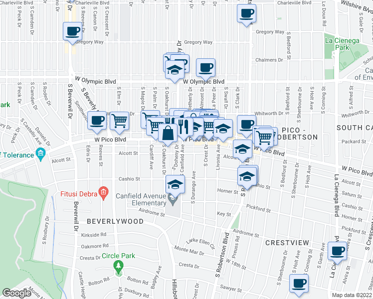 map of restaurants, bars, coffee shops, grocery stores, and more near 9049 Alcott Street in Los Angeles