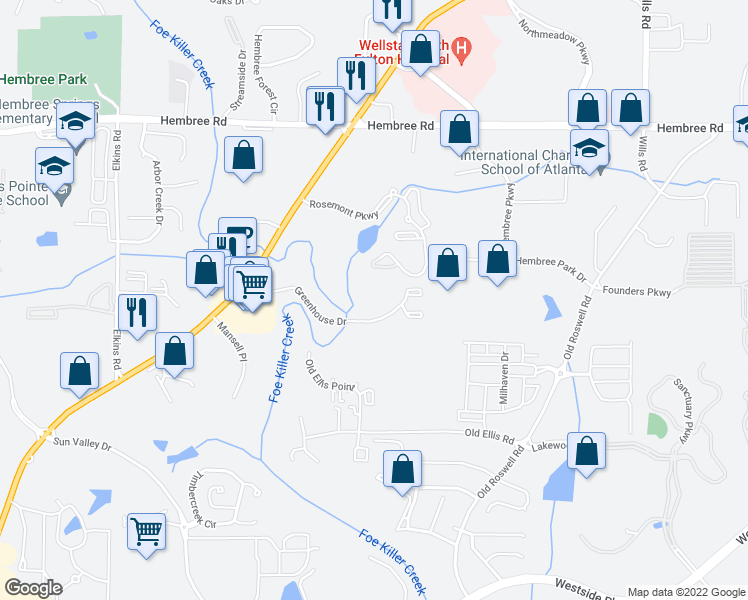map of restaurants, bars, coffee shops, grocery stores, and more near 11251 Alpharetta Highway in Roswell