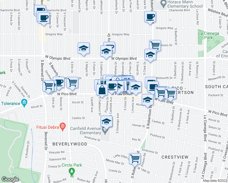 map of restaurants, bars, coffee shops, grocery stores, and more near 1139 South Wetherly Drive in Los Angeles