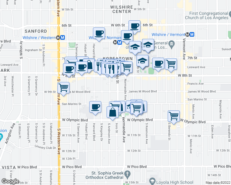 Map Of Restaurants Bars Coffee Shops Grocery Stores And More Near 901
