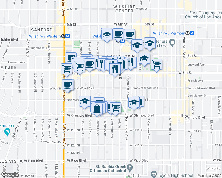map of restaurants, bars, coffee shops, grocery stores, and more near 901 South Ardmore Avenue in Los Angeles