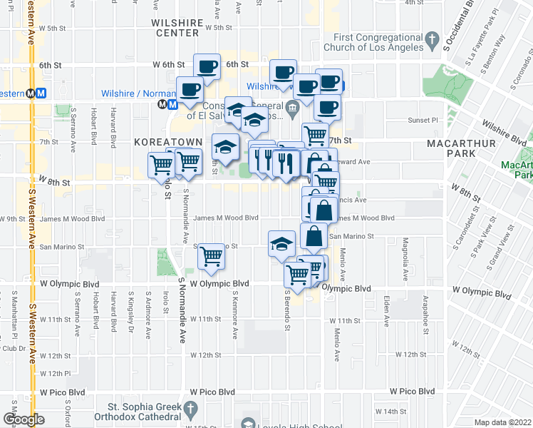 map of restaurants, bars, coffee shops, grocery stores, and more near 862 South Catalina Street in Los Angeles