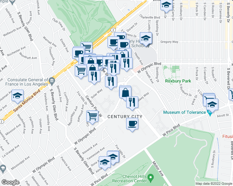 map of restaurants, bars, coffee shops, grocery stores, and more near 1 West Century Drive in Los Angeles