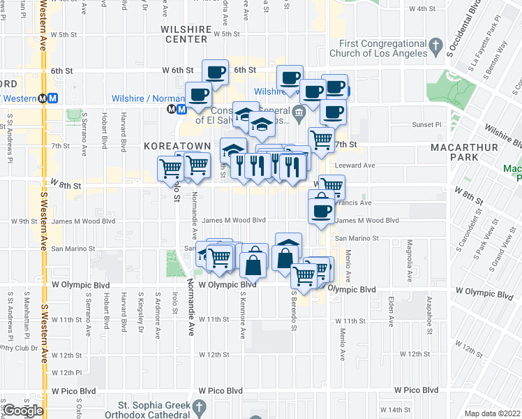 map of restaurants, bars, coffee shops, grocery stores, and more near 3049 James M Wood Boulevard in Los Angeles