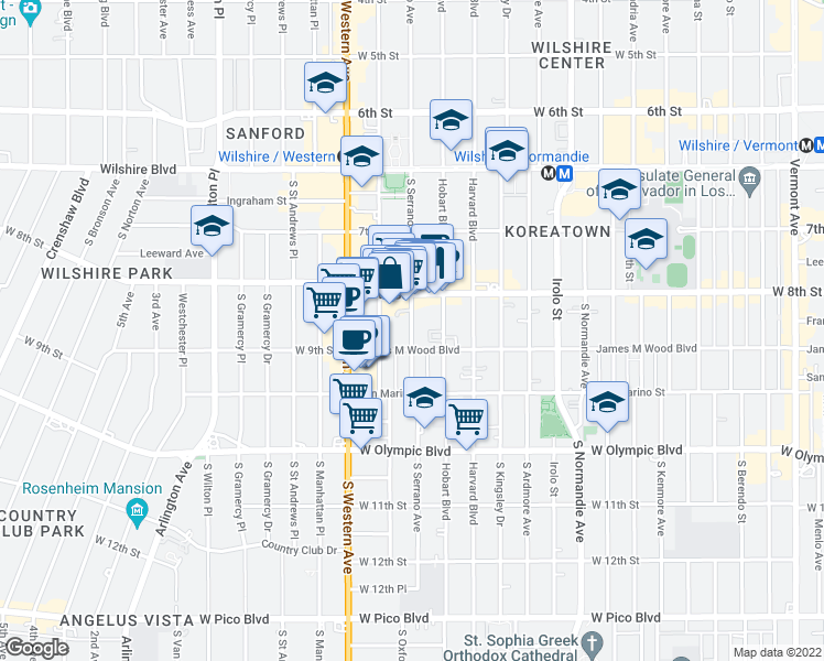 map of restaurants, bars, coffee shops, grocery stores, and more near 854 South Serrano Avenue in Los Angeles
