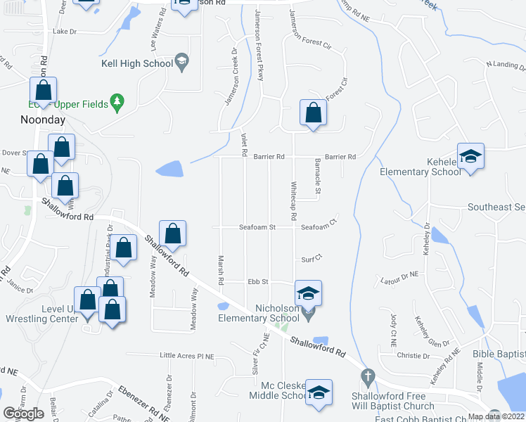 map of restaurants, bars, coffee shops, grocery stores, and more near 4365 Reef Road in Marietta
