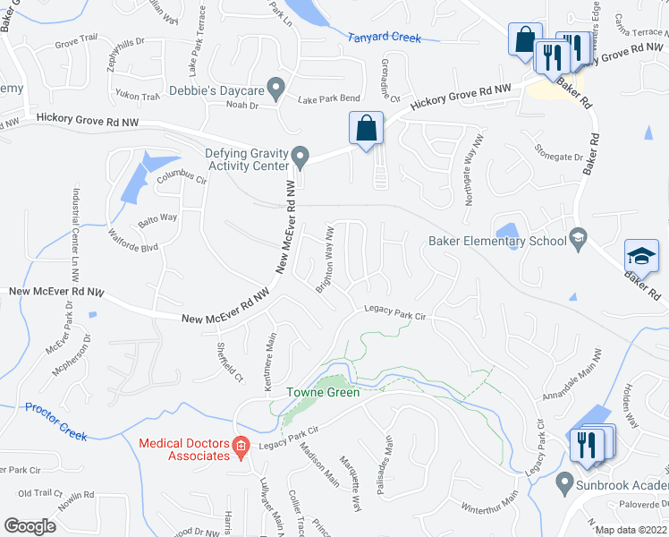 map of restaurants, bars, coffee shops, grocery stores, and more near 4238 Brighton Way Northwest in Kennesaw