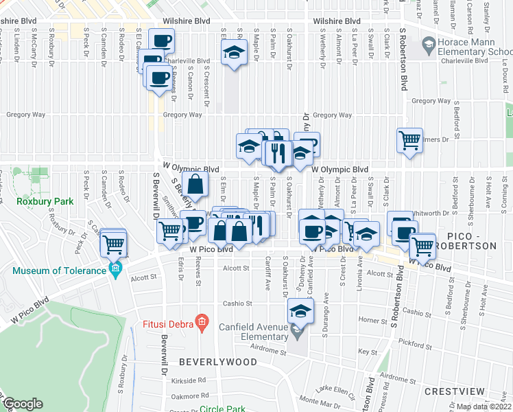 map of restaurants, bars, coffee shops, grocery stores, and more near 462 South Maple Drive in Beverly Hills