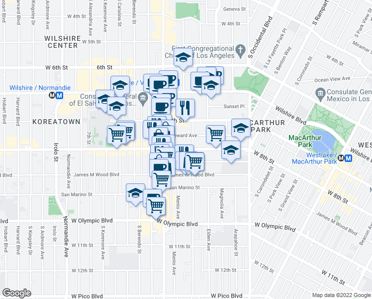 map of restaurants, bars, coffee shops, grocery stores, and more near 2919 West 8th Street in Los Angeles