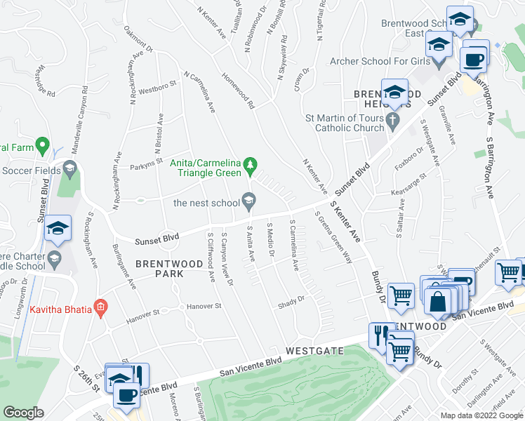 map of restaurants, bars, coffee shops, grocery stores, and more near 12509 Sunset Boulevard in Los Angeles