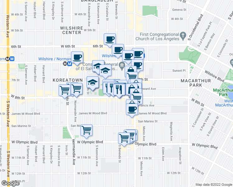 map of restaurants, bars, coffee shops, grocery stores, and more near 3100 West 8th Street in Los Angeles