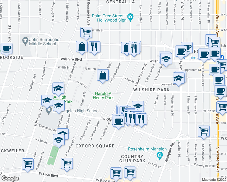 map of restaurants, bars, coffee shops, grocery stores, and more near 861 South Windsor Boulevard in Los Angeles