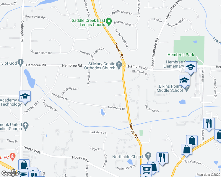 map of restaurants, bars, coffee shops, grocery stores, and more near 11430 Houze Road in Roswell