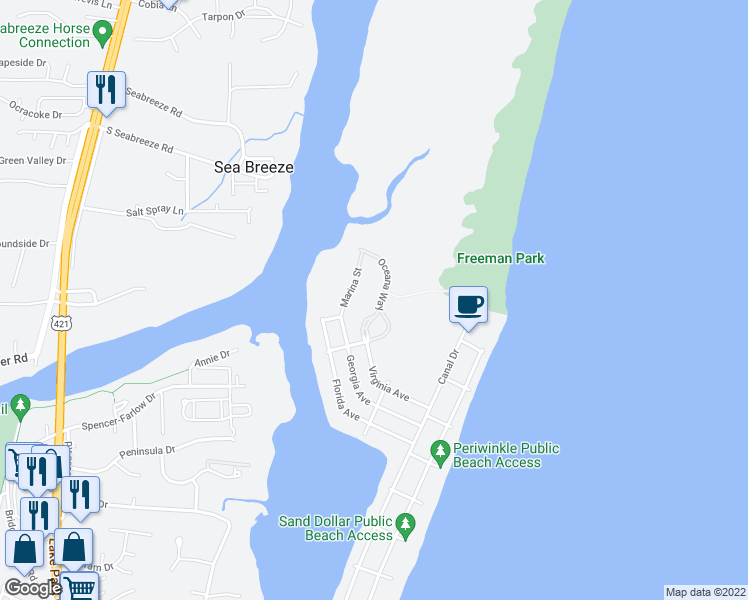 map of restaurants, bars, coffee shops, grocery stores, and more near 409 Oceana Way in Carolina Beach