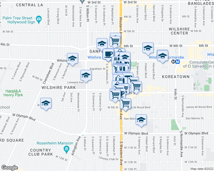 map of restaurants, bars, coffee shops, grocery stores, and more near 718 South Saint Andrews Place in Los Angeles