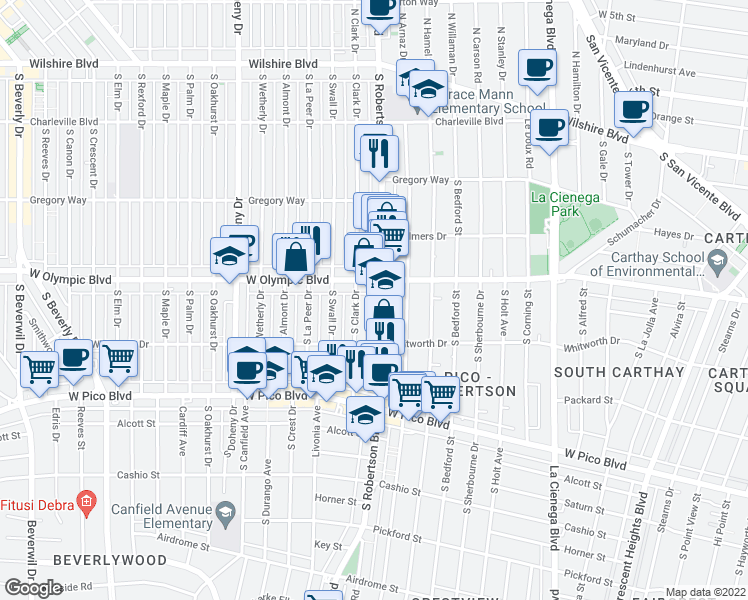 map of restaurants, bars, coffee shops, grocery stores, and more near 8822 West Olympic Boulevard in Beverly Hills