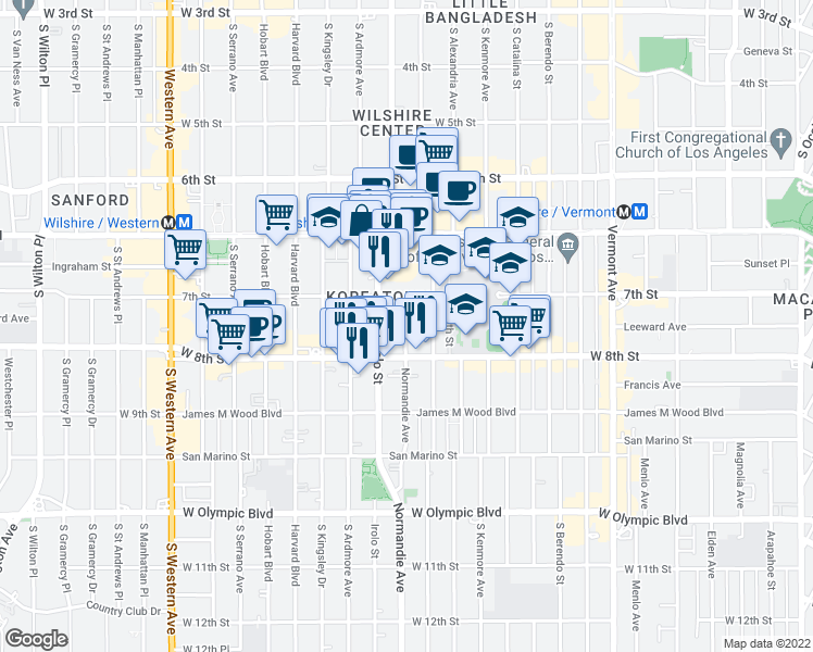 map of restaurants, bars, coffee shops, grocery stores, and more near 3399 7th Street in Los Angeles