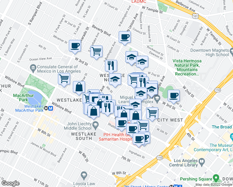 map of restaurants, bars, coffee shops, grocery stores, and more near 362 Loma Drive in Los Angeles