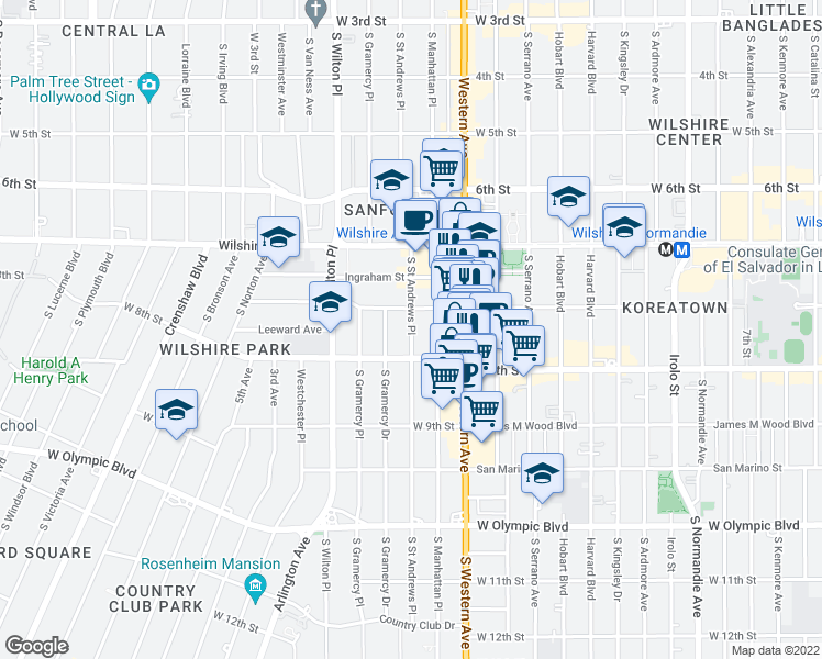 map of restaurants, bars, coffee shops, grocery stores, and more near 716 Saint Andrews Place South in Los Angeles