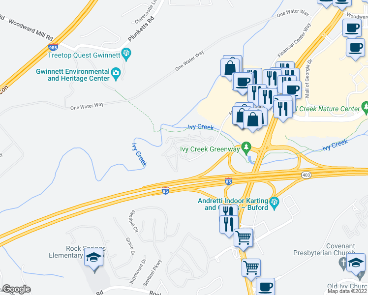 map of restaurants, bars, coffee shops, grocery stores, and more near 1400 Mall of Georgia Boulevard in Buford