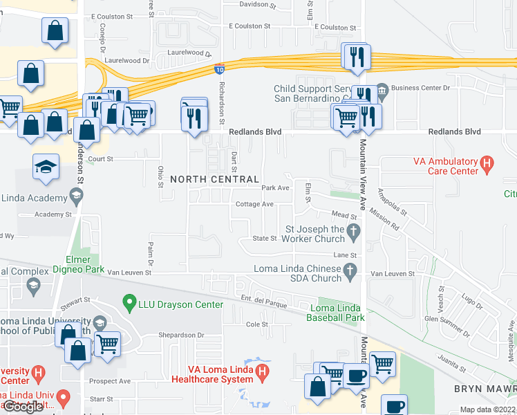 map of restaurants, bars, coffee shops, grocery stores, and more near 25411 Cottage Avenue in Loma Linda