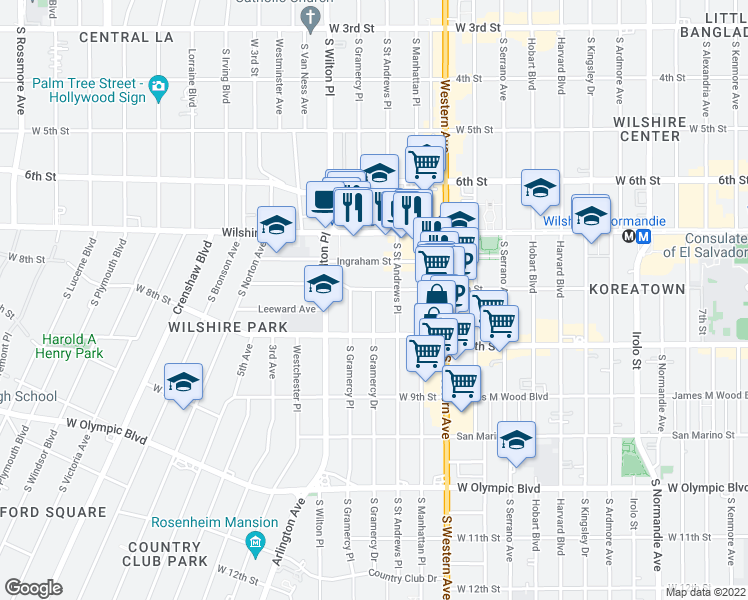 map of restaurants, bars, coffee shops, grocery stores, and more near 723 Gramercy Drive in Los Angeles