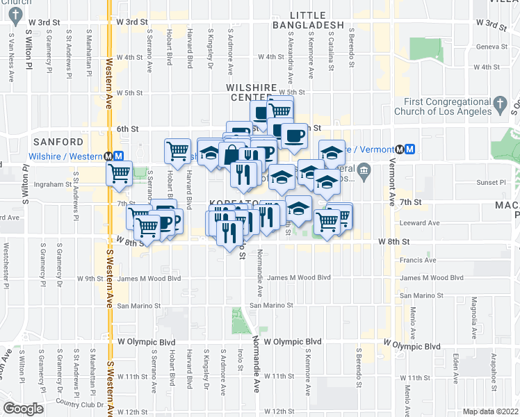 map of restaurants, bars, coffee shops, grocery stores, and more near 706 South Normandie Avenue in Los Angeles