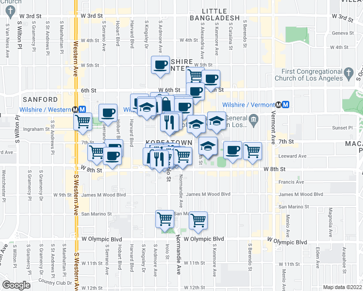 map of restaurants, bars, coffee shops, grocery stores, and more near 738 Irolo Street in Los Angeles