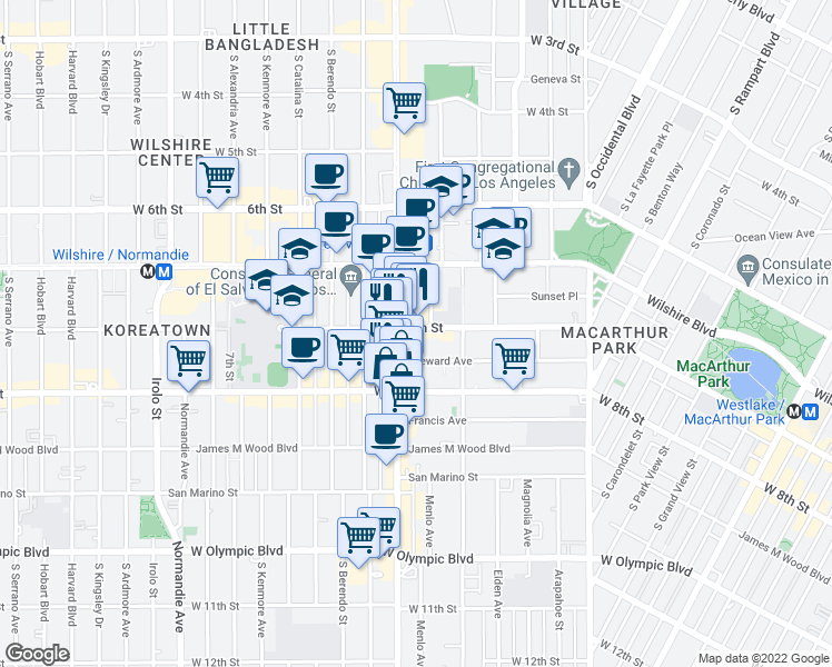 map of restaurants, bars, coffee shops, grocery stores, and more near 3066 West 7th Street in Los Angeles