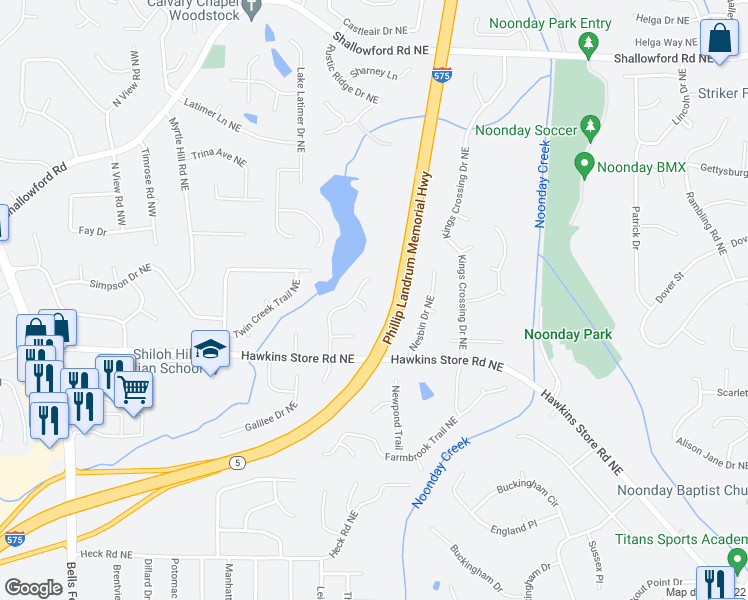 map of restaurants, bars, coffee shops, grocery stores, and more near 4403 Lakeside Hills Point Northeast in Kennesaw