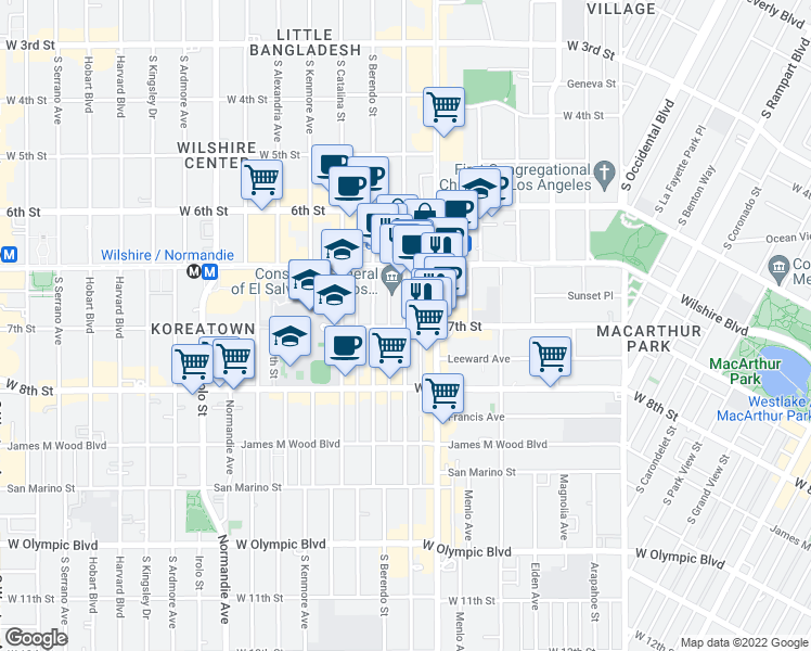 map of restaurants, bars, coffee shops, grocery stores, and more near 685 South New Hampshire Avenue in Los Angeles