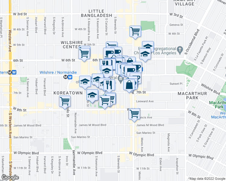 map of restaurants, bars, coffee shops, grocery stores, and more near 3191 West 7th Street in Los Angeles